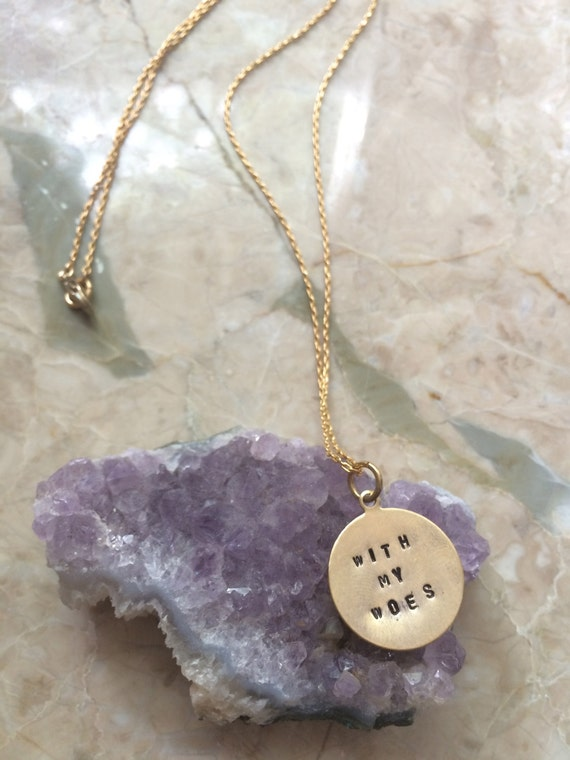 "Song Lyrics Engraved Necklace Drake ""With My Woes"" Hand Stamped"