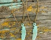 Turquoise Feather Earrings, Boho Jewelry, Hippie Earrings, Long Earrings, Bohemian Jewelry, Feather Jewelry, Gypsy Jewelry