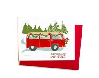 Christmas Card Set, Holiday Vintage Volkswagen Camper Van Bus