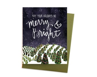 Christmas Card, Merry and Bright Fraser Fir Christmas Tree Field Single Holiday Card