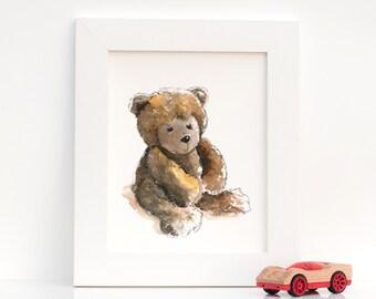 Print of Original Watercolor Artwork for Nursery : Bashful Baby Teddy Bear Illustration