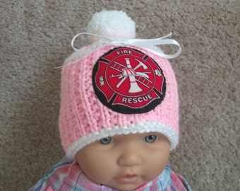 Custom handmade knit Fireman, firefighter, fire rescue girls pink, baby hat cap beanie, badge of courage appliqued shield 0-12M
