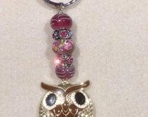 Metal Owl Beades Keychain -