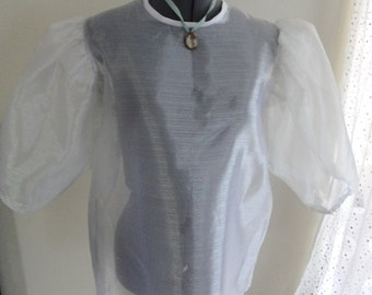 victorian look top, 80s does victorian, steampunk top, steampunk blouse, see through, big sleeves, victorian costume, steampunk costume