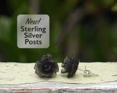 Frosted Black Mini Rose Posts, Semi Translucent Rosette Stud Earrings on Sterling Silver Posts. Bohemian, Gothic