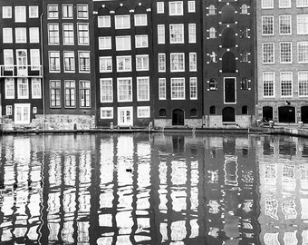 Amsterdam Photograph - Damrak Reflections, Black and White, Crooked Houses, Holland, Fine Art Photo, Dutch Travel Wall Decor, Large Wall Art