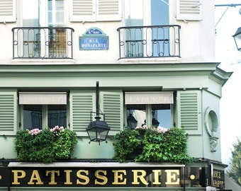 Paris Photograph - Patisserie on rue Bonaparte, Green and Gold Travel Photography, French Home Decor, Large Wall Art