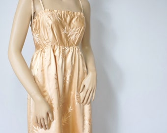 Dress Prom Satin Vintage 1960's Dress Gold Satin Maxi Dress Empire Waist Bridesmaid Bamboo Sundress Size Medium
