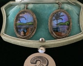Vintage Blue Morpho Butterfly Wing Earrings...Tropical Beach Wedding...Bridesmaids Gift  #2