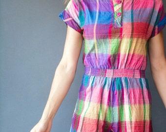 Madras Plaid Summer Romper 1980's Vintage Rainbow Plaid Cotton Gauze Playsuit / Shorts Jumpsuit with Cap Sleeves