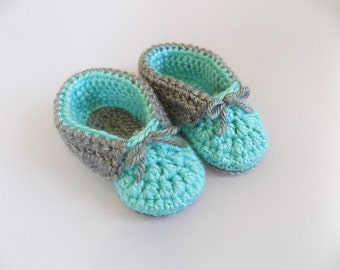 Baby Booties, Crochet Baby Moccasins, Teal Baby Shoes, Baby Accessories