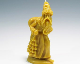 Beeswax Santa Candle with a Tree and Sack Over His Shoulder Besswax Belsnickle Christmas Candle Christmas Decoration