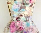 Diva Lingerie Apron with Ruffles - Romance in Paris!   Pastel Paris vintage map print apron with ivory lace.