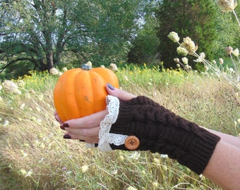 Fingerless Gloves, Brown Fingerless Gloves, Lace Fingerless Gloves with Buttons, Wrist Warmers, Knit Gloves, Arm Warmers, Fall Fashion