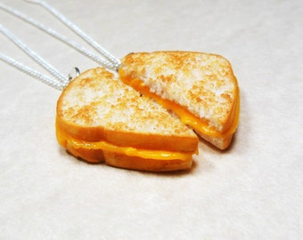 Grilled Cheese Best Friend Necklaces, Polymer Clay,  Bff, Valentine's day