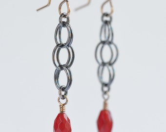 red and orange carnelian sterling silver earrings