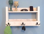 Rustic entryway shelf, key holder, mail organizer, rustic white shelf with hooks, kitchen shelf, farmhouse shelf, whitewash shelf