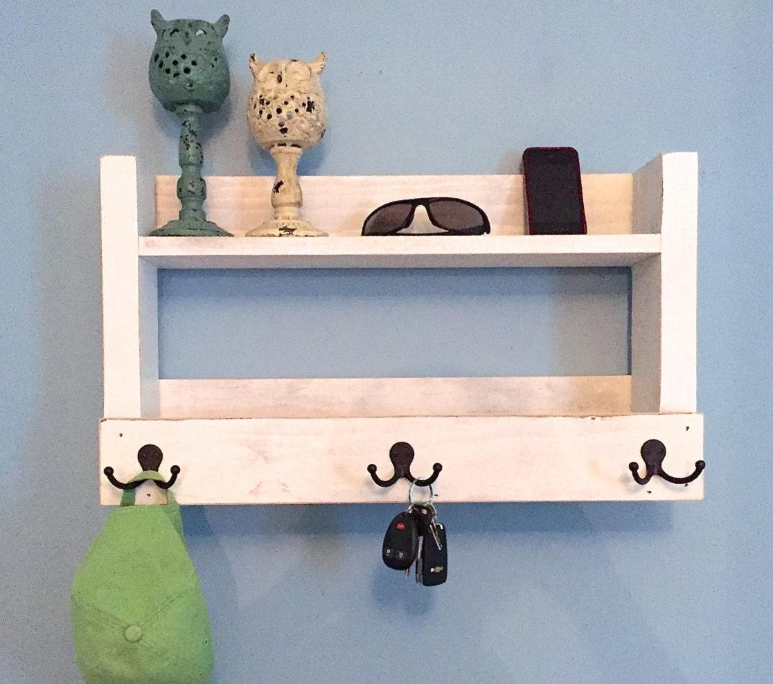 Rustic Entryway Shelf Key Holder Mail Organizer Rustic