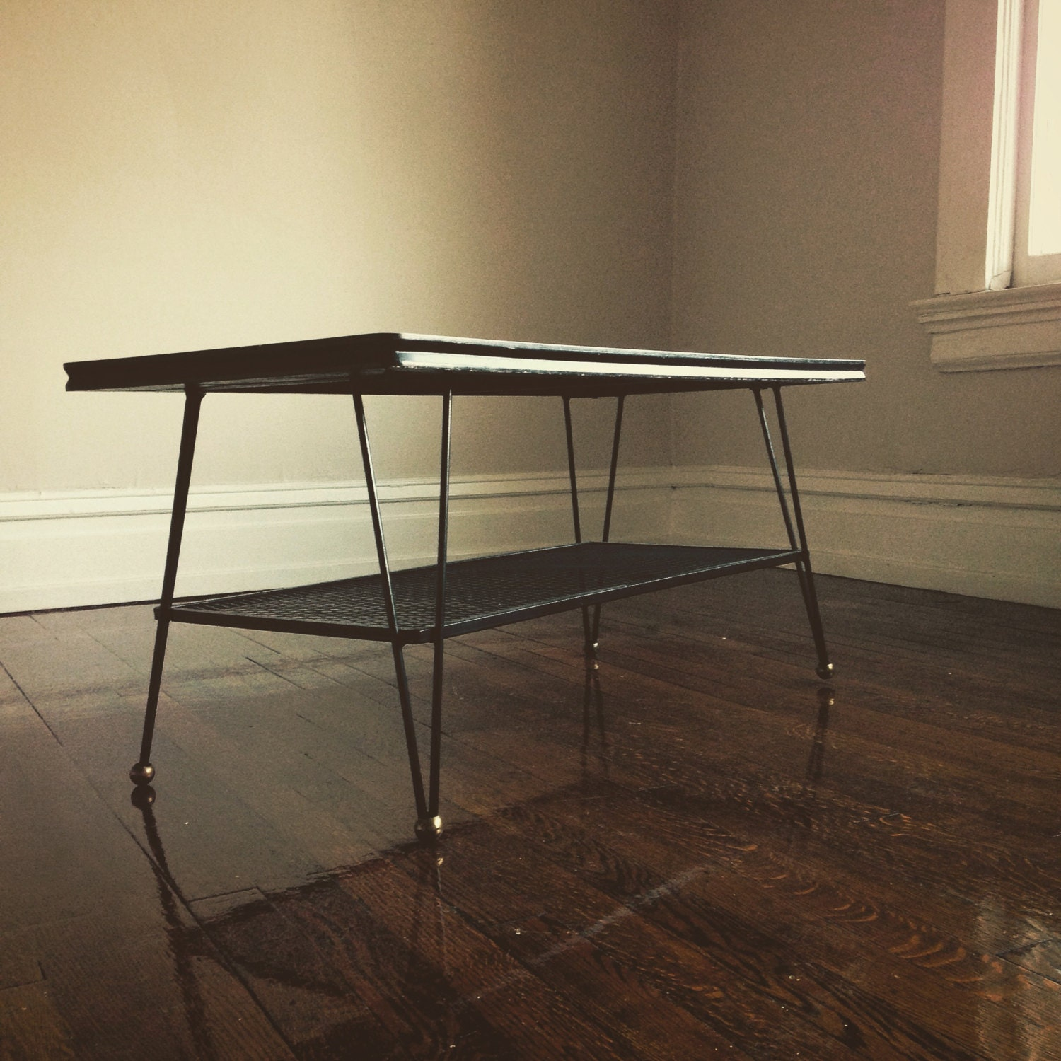Coffee Table Legs Gold: 1950s Mid Century Atomic Coffee Table Hairpin Legs GOLD Feet