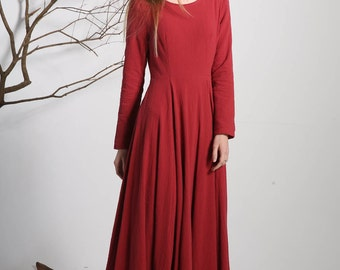 red dress, long dress, long sleeves dress, linen dress, pleated dress, spring dress, casual dress, made to order, ladies dresses (1133)