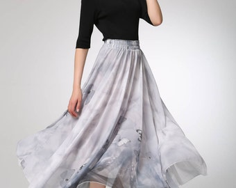 grey skirt, chiffon skirt, summer skirt, butterfly skirt, maxi skirt, fit and flare skirt, elastic skirt, plus size skirt  (1296)