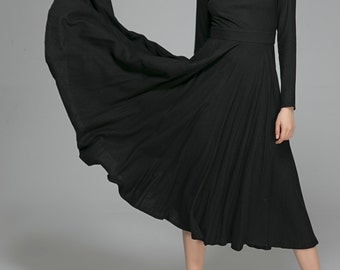 Linen Dress,Party Dress,Womens dresses,Black dress,little black dress,maxi dress,long dress,fall clothing,ladies clothing, flared dress 1397