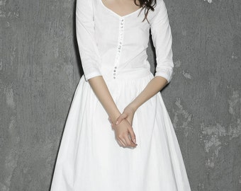 White linen dress maxi dress women dress long prom dress(1306)