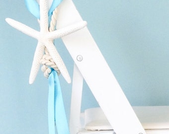 Beach Wedding Decor Starfish Chair Decoration with Cording and Ribbon - 24 Ribbon Colors available