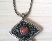 Reserved SALE....Gorgeous Antique Yemenite Israel Agate Sterling 925 Lucky Amulet/ Necklace