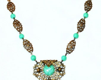 1920s Czech Peking Glass Necklace