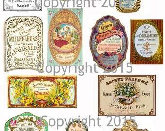 Printable French Vintage Perfume Labels Collage Sheet 104.  Instant Digital Download, Flowers, Scrapbook Embellishments
