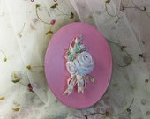 Oval Gift Box Adorned with a Bouquet of Roses   Handmade Shabby Chic    Vintage    Cottage Style