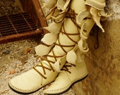 Cream Knee High Forest Boot Tall Moccasin Seed Of Life Pockets Hand Stitched Soft Bullhide Leather / Durable Vibram Sole / Labradorite LARP