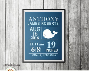 Modern White Whale w/ Navy Blue Baby Boy Birth announcement print, Custom Birth Statistic Wall Art, Baby Shower Gift, Nursery Wall Print