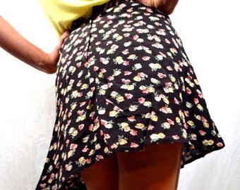 Vintage Floral 90s Grunge Rayon Mini Skirt