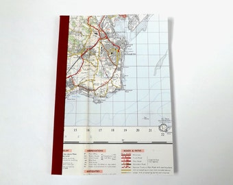Cardiff #3 - Penarth - Recycled Vintage Map Notebook