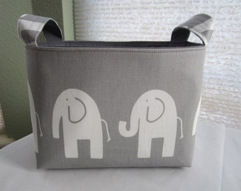 Fabric Organizer Basket Storage Bin Container - Gray and White Elephant