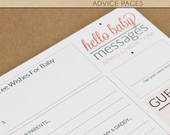 NEW // Baby Shower Advice Pages - CORAL/ORANGE