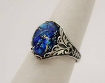 Sea Blue Opal Ring. Vintage Jewel. Antique Silver or Antique Brass