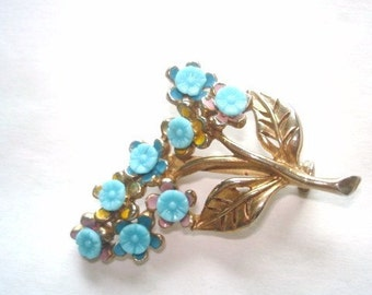 Vintage Jewelry Forget Me Not Blue Glass Flower Gold Tone Brooch
