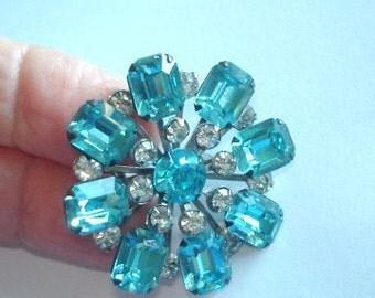 Turquoise Blue Rhinestone Flower Brooch