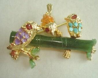 Rare Swoboda Green Carved Jade Branch Rhinestone Birds Vintage Jewelry Animal Brooch