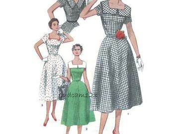 Vintage 1950s Pattern Square Neckline V Back Large Collar Flared Dress 1954 Simplicity 4650 Bust 36