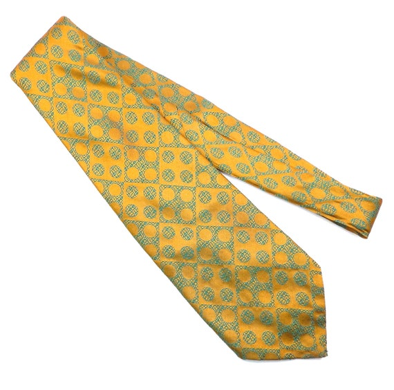 gold and green polka dot tie vintage 1970s wide mens necktie