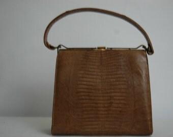 Vintage 1950's Petite Kelly Bag   Lizard Kelly Bag  Golden Brown Exotic Skin Kelly Bag