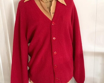 Sale Hep Vintage Men's Red Wool Cardigan -- Retro - Hipster - Size L
