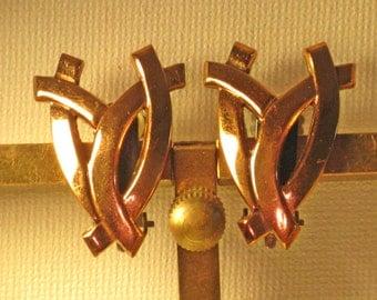 Renoir Vintage Copper Modernist Clip Earrings (E-1-5)