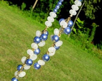 Haute Couture Vintage Necklace Flapper PearLs Runway Lariet Sautoir Lucite Blue Belt Cha Cha Frosted Bakelite Era Mid Century Statement Mod