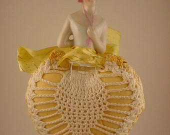 Vintage Half Doll Attached to Heart Shaped Pincushion  SALE!