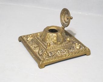 Vintage Solid Brass Inkwell / Mid Century Ornate Ink Well Desktop Accent, Retro Home Office Decor Desk Accessory Vines and Flowers Design